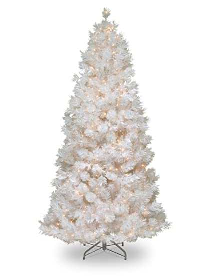 national tree 75 foot wispy willow grande white slim tree with silver glitter and 500 velvet