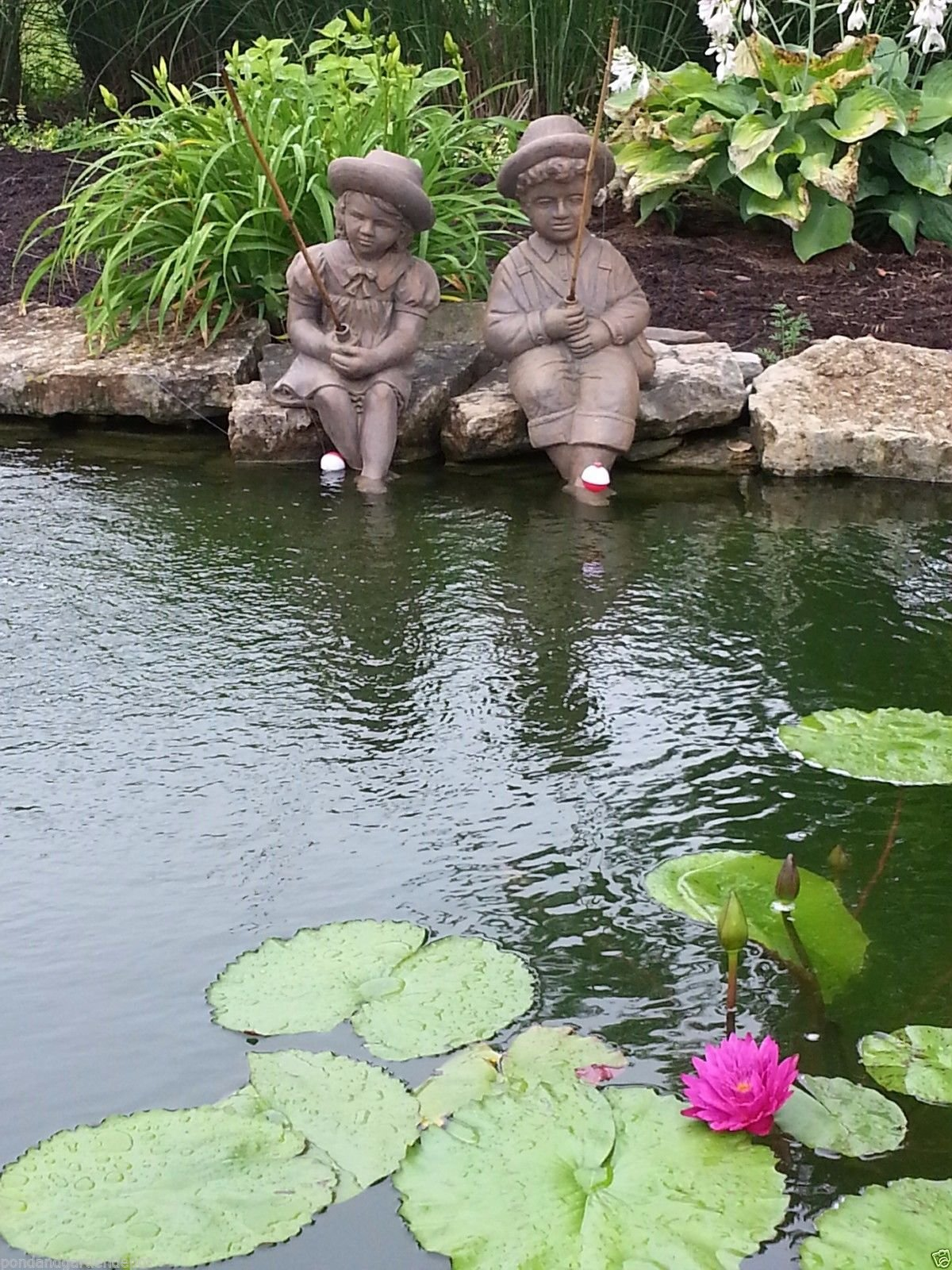 Fishing Boy & Girl Cast Stone Statues-Sculptures- Great Garden Gift Idea!
