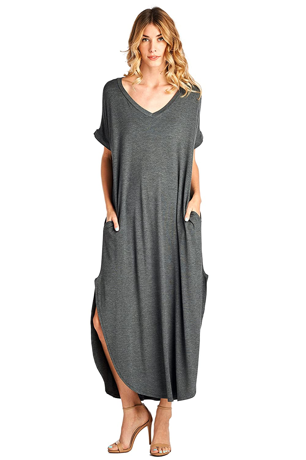 12 Ami Solid V-Neck Pocket Loose Maxi Dress (S-3X) - Made in USA