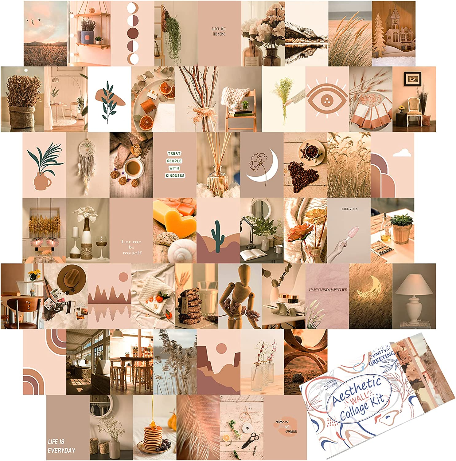 60 Pieces Room Decor for Bedroom, BOHO Aesthetic Photo Collage Kit Wall Art Pictures Euphoria Dorm Collage Kit for Teen Girls and Women,4x6inch Photo Collection