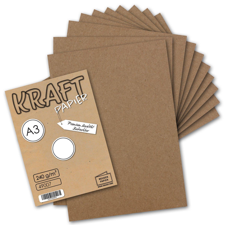 75x Vintage Kraftpapier DIN A3 240 g/m² natur-braunes Recycling-Papier, 100% ökologisch Bastel-Karton Einzel-Karte I UmWelt by GUSTAV NEUSER