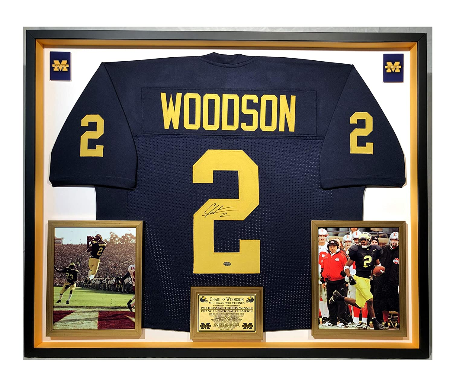 meet 48b03 9564f Premium Framed Charles Woodson Autographed/Signed Michigan ...