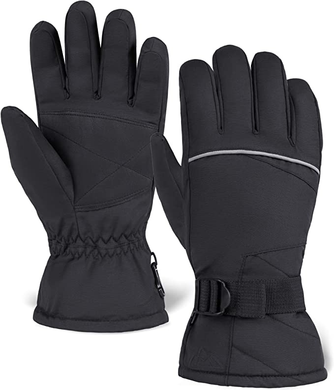 Waterproof and Windproof Insulated for Cold Weather L//XL Black Isotoner Women/'s Ski Gloves