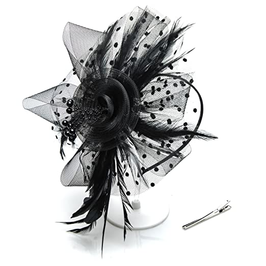 DIGGOLD Fascinators Hats for Womens Headwear with Veil Flower Mesh Ribbons  Feathers Derby Hat Cocktail Wedding bffb3fca56