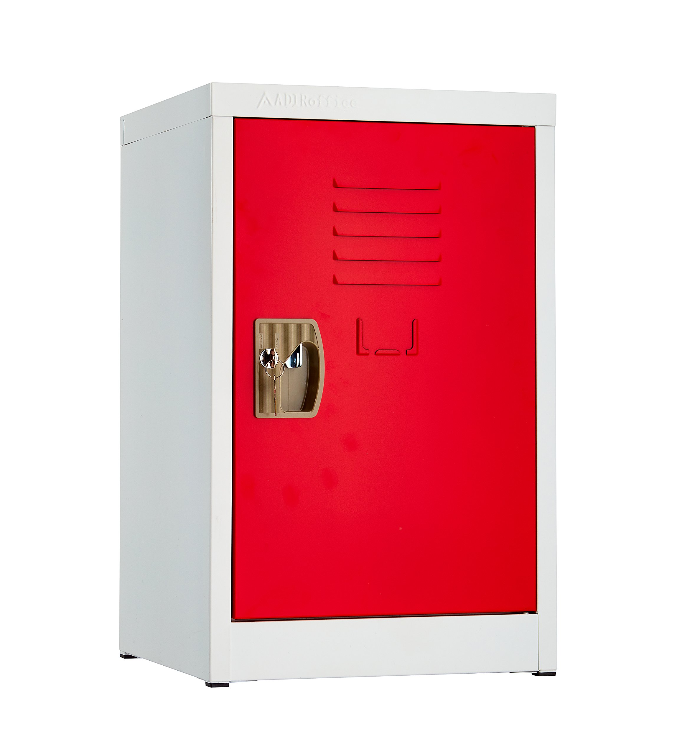 AdirOffice Kids Steel Metal Storage Locker - for Home & School - with Key & Hanging Rods (24 Inch, Red) by AdirOffice