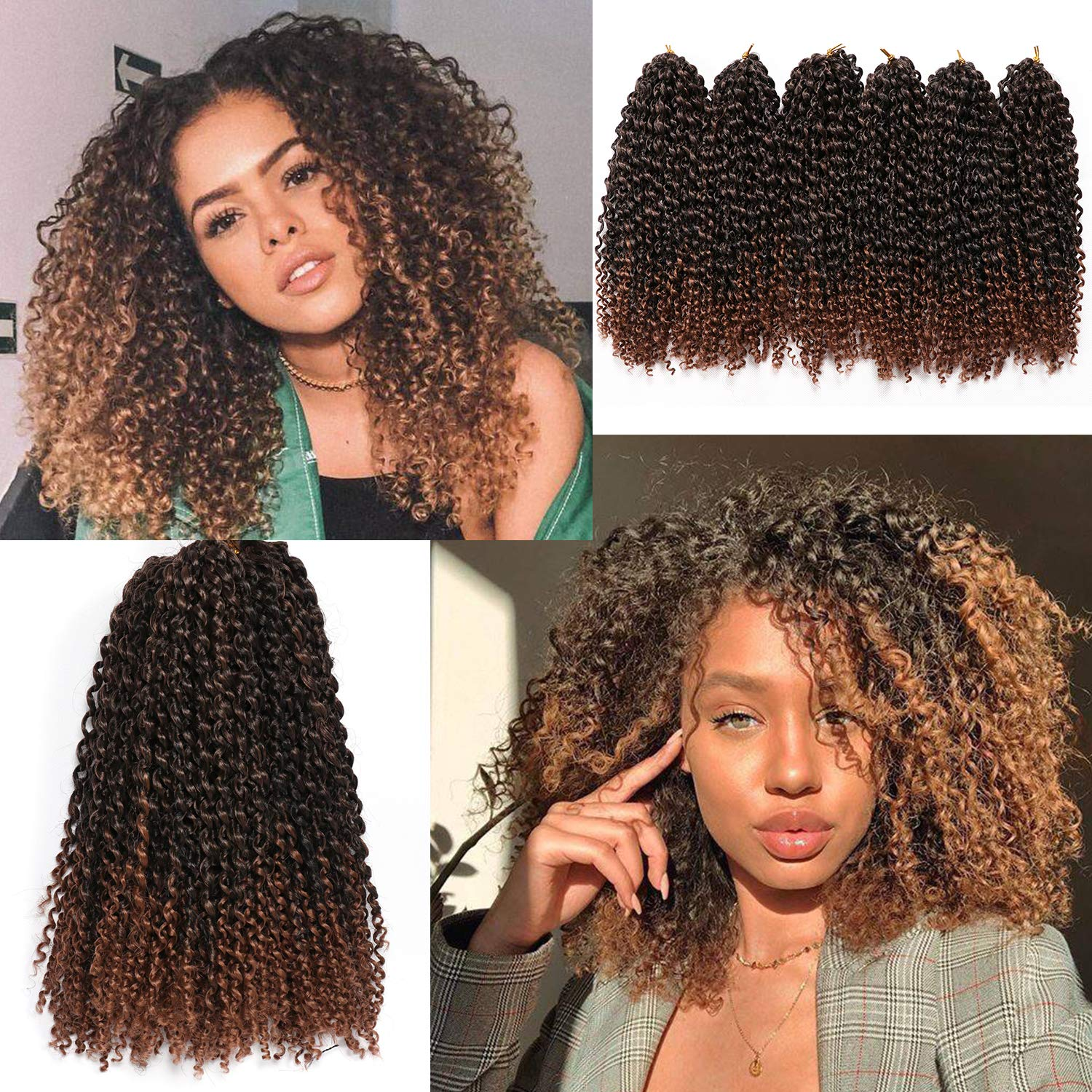 Amazon Com 12 Inch Marlybob Crochet Hair 6 Small Bundles Kinky Twist Crochet Hair Crochet Braids Jerry Curly Crochet Hair Extensions Kinky Curly Crochet Hair Ombre Synthetic Braiding Hair 1b 30 Beauty
