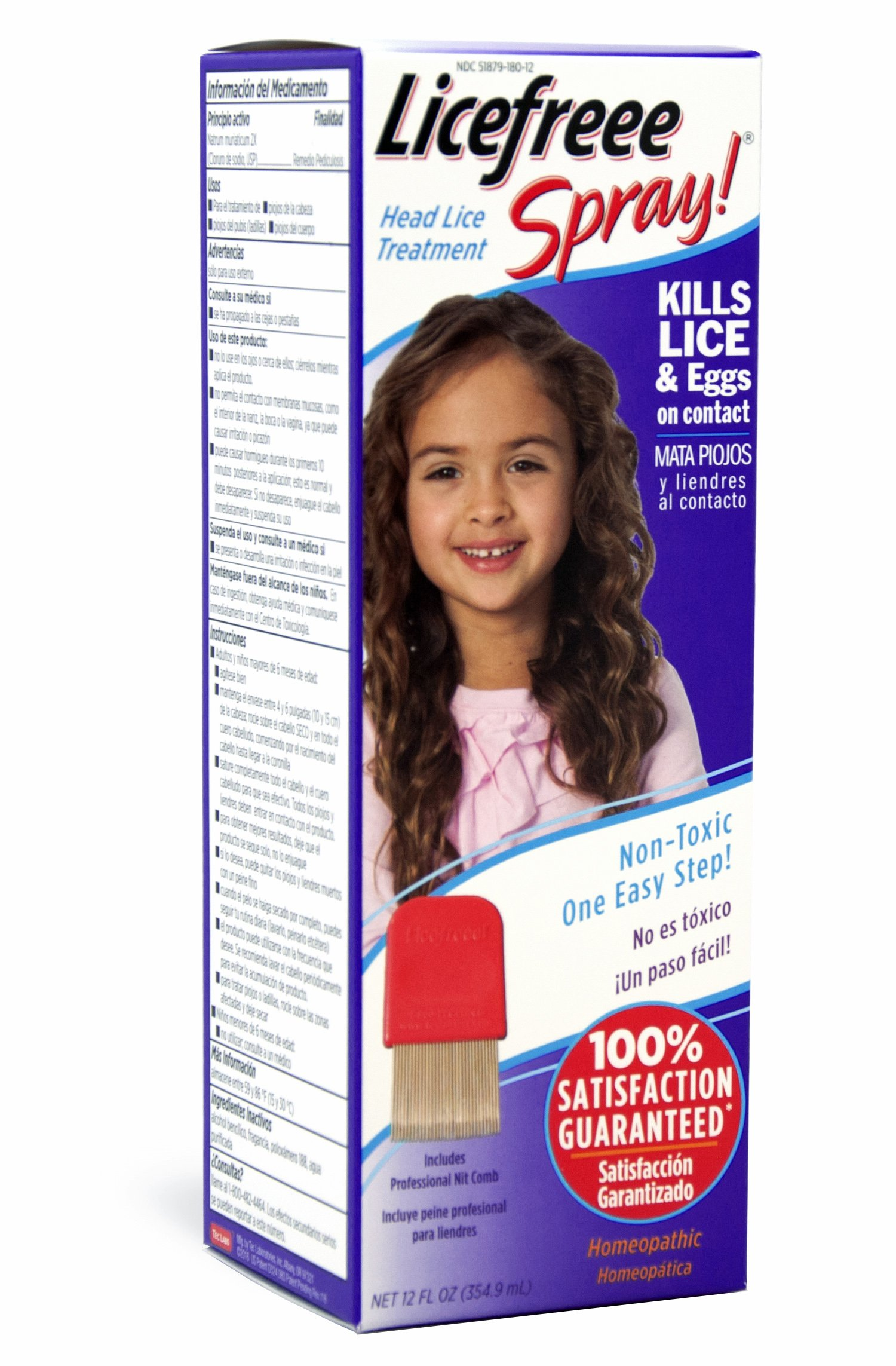 Licefreee Spray Large Family Size Head Lice Treatment (Kills Lice and Eggs on Contact) Includes Professional Metal Nit Comb, 12 Fluid Ounce