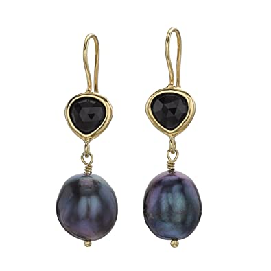 dca992831 Dower & Hall Enchanted Gold Plated Black Onyx and Peacock Pearl Drop  Earrings