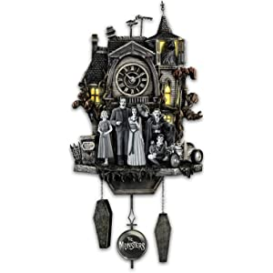 Bradford Exchange The The Munsters Cuckoo Clock with Flickering Lights and Music