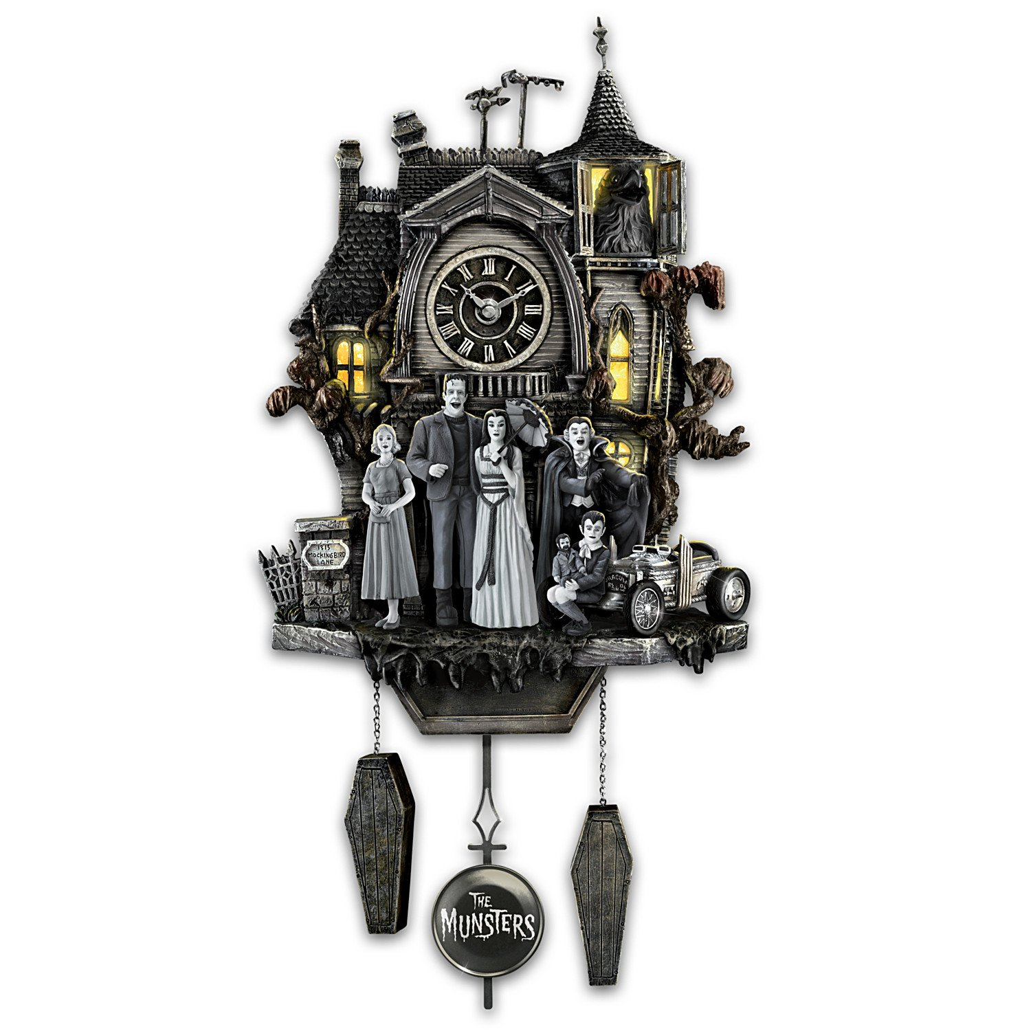 Amazoncom The Munsters Cuckoo Clock with Flickering Lights and