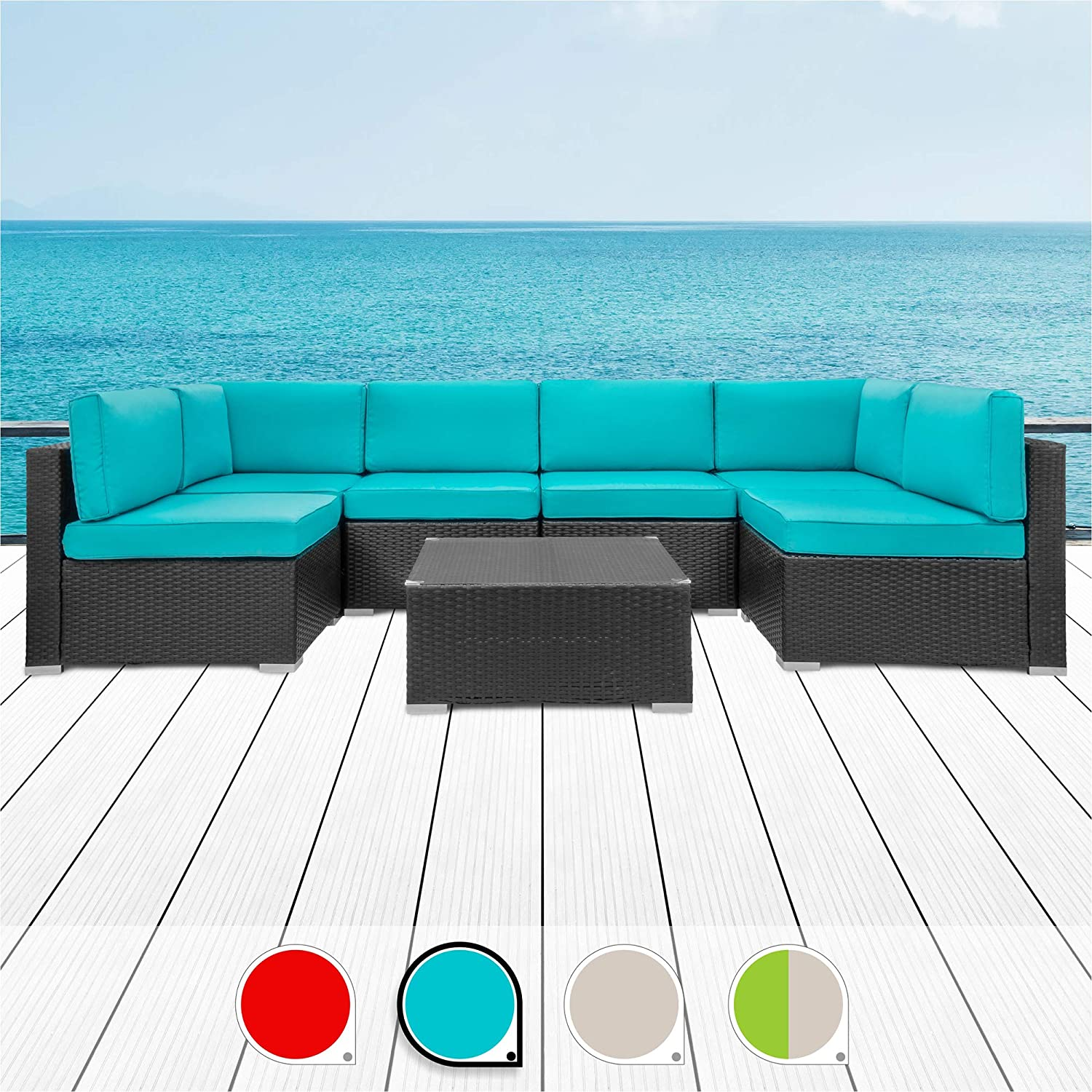 Walsunny 7pcs Patio Outdoor Furniture Sets,Low Back All-Weather Rattan Sectional Sofa with Tea Table&Washable Couch Cushions (Black Rattan (Blue)