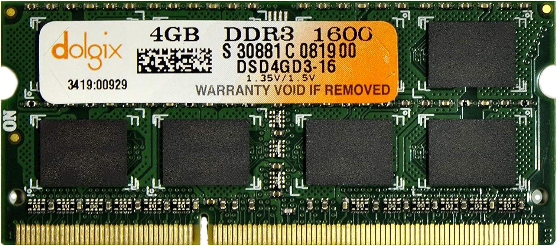 DOLGIX 4GB DDR3 PC3-12800 1600MHz Sodimm Laptop RAM Memory 204-Pin Notebook Upgrade