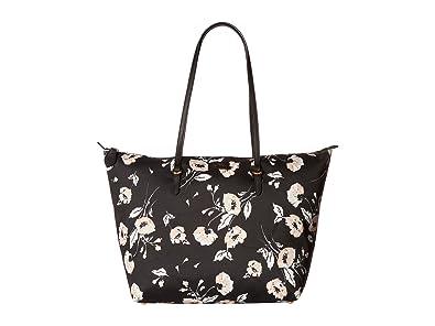 ffb952e8dd2b4 Amazon.com  Ralph Lauren Chadwick Shopper Floral Pattern Medium Tote  (Black)  Shoes