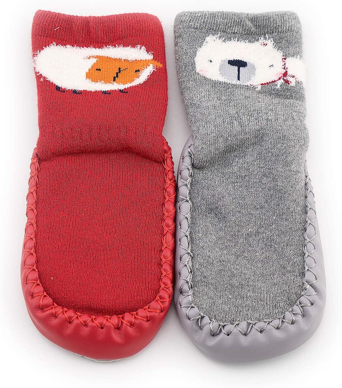 Baby Boys Girls Slippers 2-Pack Toddler Cartoon Cute Anti Slip Skid Grip Floor Socks Slipper Cotton Prewalker