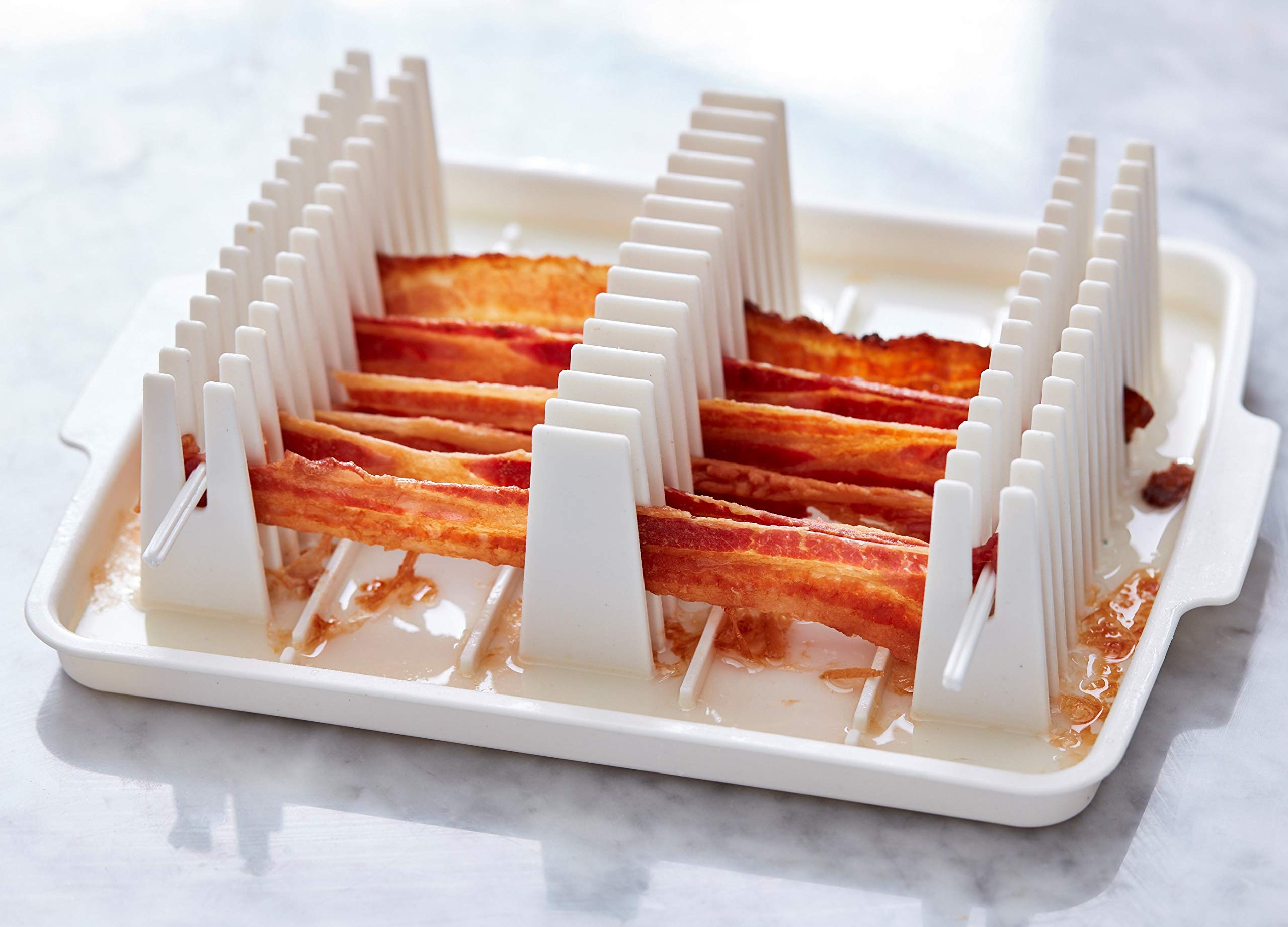 Emson Wave, Microwave Cooker Tray, Reduces Fat up to 35% for Healthy, Make Crispy Bacon in Minutes, Original As Seen On TV New, Small, White