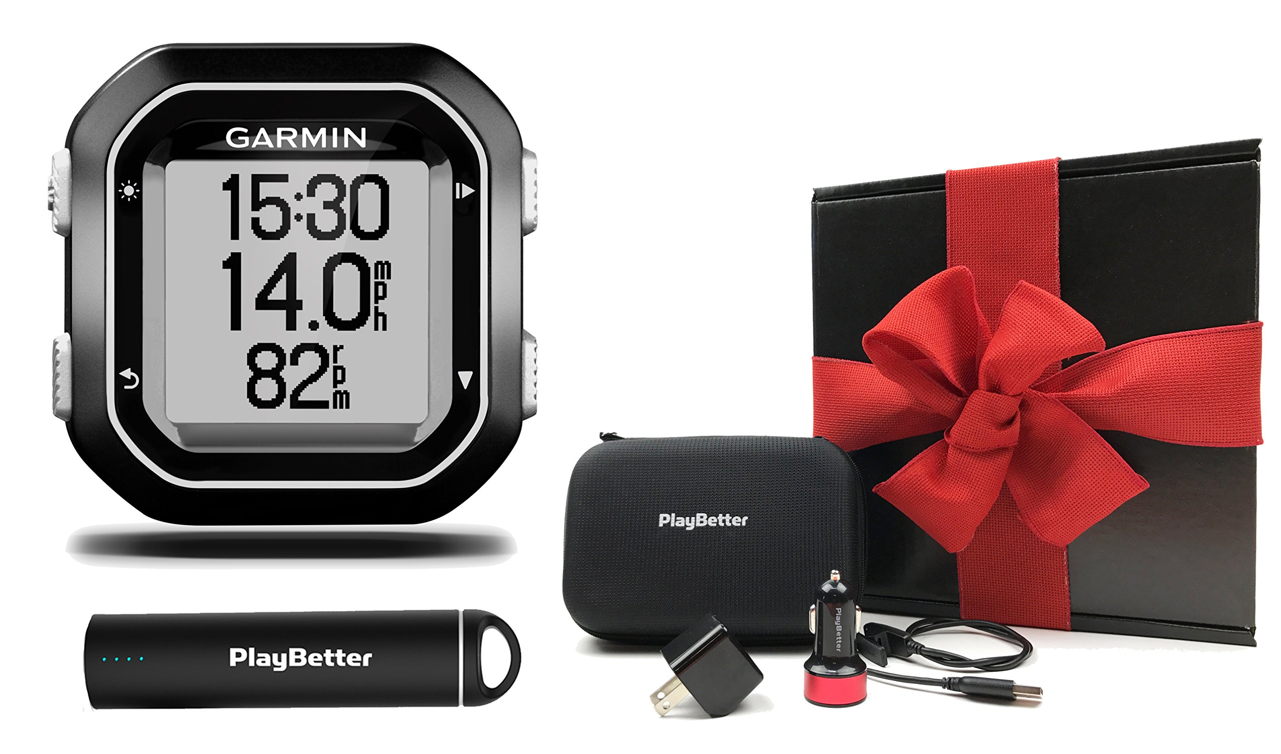 Garmin Edge 25 Gift Box Bundle with PlayBetter Portable Lipstick Charger, Wall/Car USB Adapters & Hard Carrying Case, Bike Mount, USB Cable | Smallest GPS Cycling Computer | Black Gift Box, Red Bow