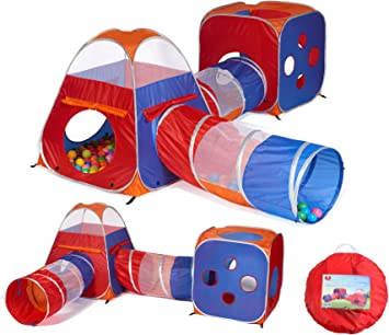 Utex 4 in 1 Pop Up Kids Play Tent Tunnel Ball Pit, PlayHouse