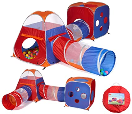 huge selection of afc66 743b5 UTEX 4 in 1 Pop Up Kids Play Tent Tunnel Ball Pit, PlayHouse with 2 Tunnel,  2 Tents and Zipper Storage Bag for Boys, Girls, Babies and Toddlers for ...