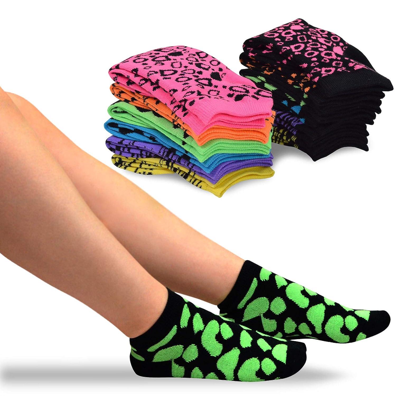 TeeHee Women's Acrylic No Show Low Cut Basic 12-Pack (Fun Foot) 9-11 S/12079-12A01