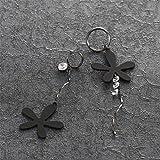 BBL CZ Cubic Zirconia Earrings Black Metal Flower
