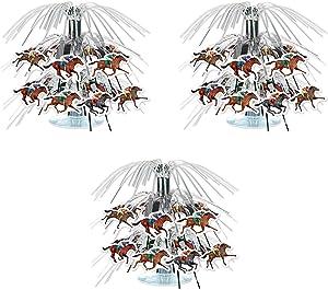 """Beistle , 3 Piece Horse Racing Mini Cascade Centerpieces, 7.5"""""""