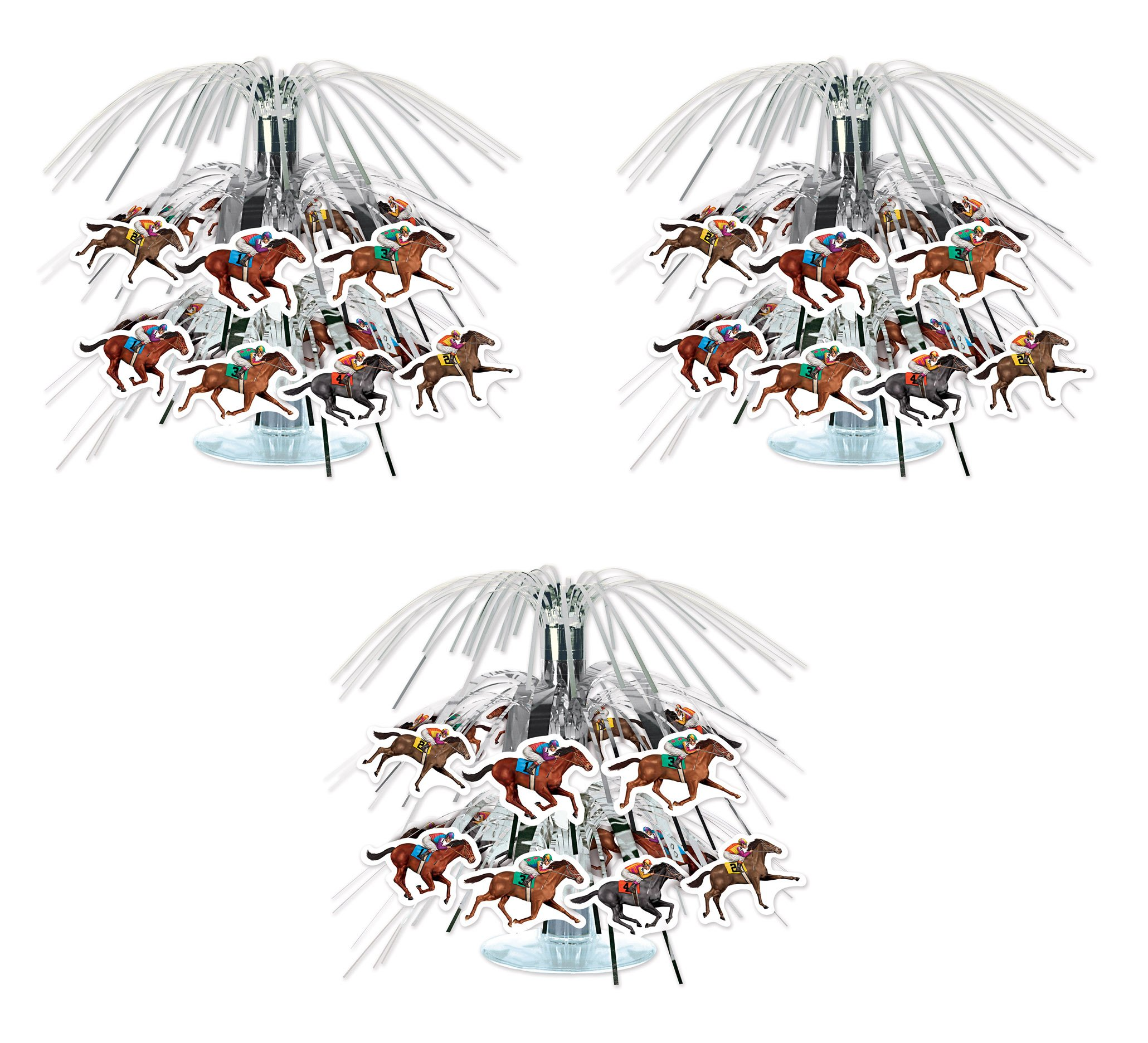 Beistle 59950, 3 Piece Horse Racing Mini Cascade Centerpieces, 7.5''
