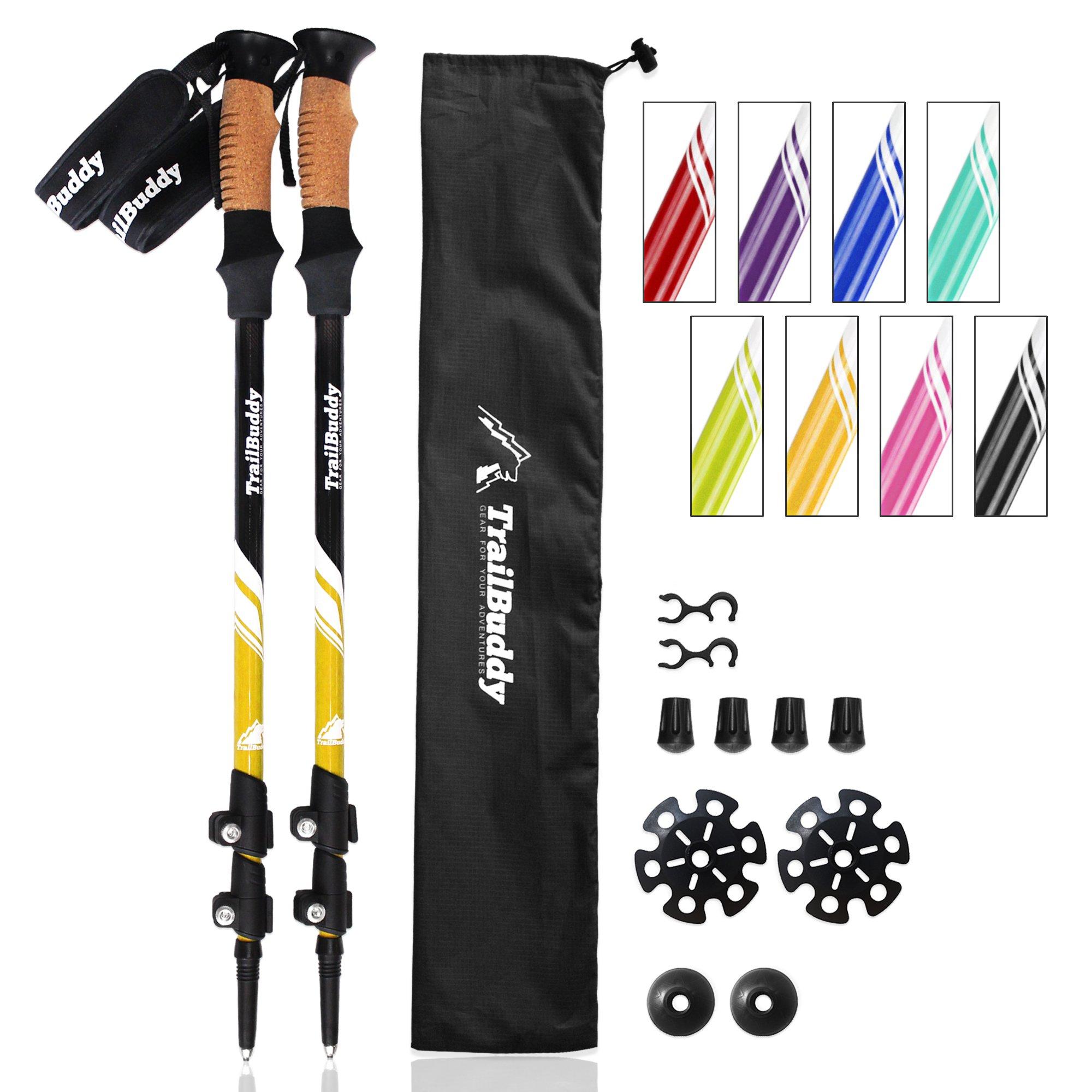 TrailBuddy Hiking Sticks - 2-pc Pack Adjustable Walking or Trekking Poles - Strong, Lightweight Aluminum 7075 - Quick Adjust Flip-Lock - Cork Grip, Padded Strap - (Bumblebee Yellow)