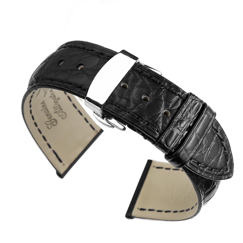 15ミリメートルユニークなエキゾチックな黒いワニ皮の革の時計バンドは、女性のハイエンド腕時計の展開クラスプ用のストラップ  B01NBNK3UI