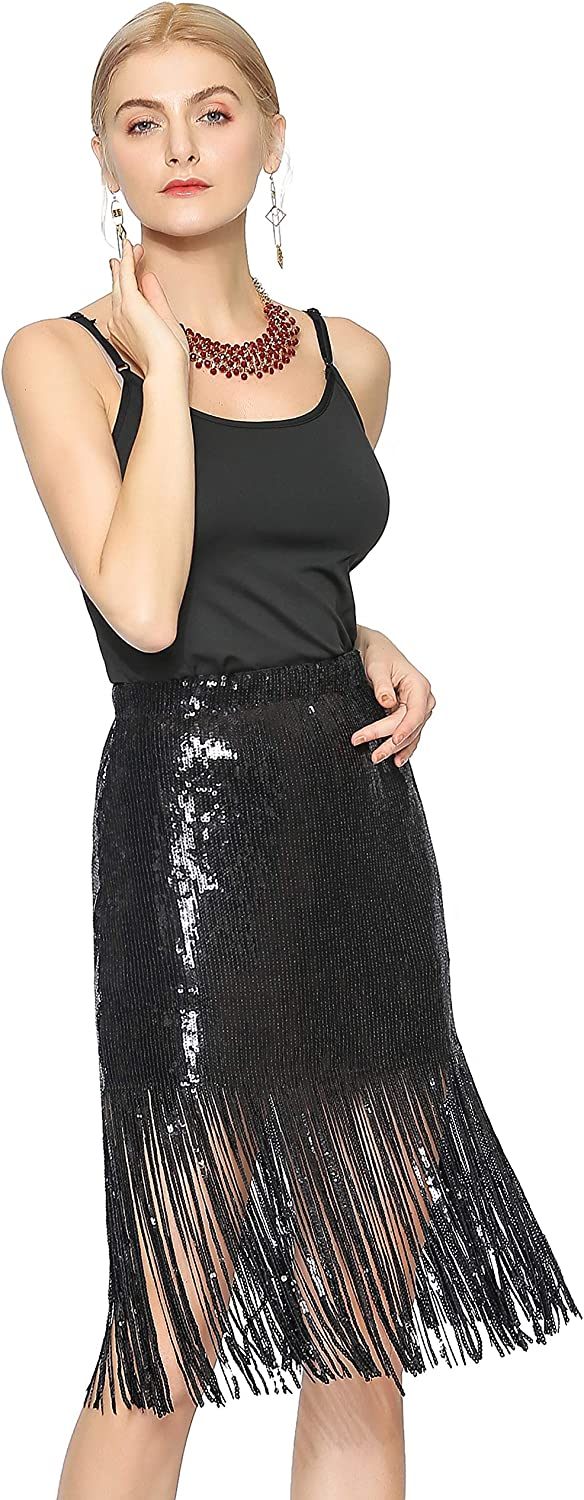 Metme Womens Sequin Skirt Sparkly Midi Skirts Pencil for Work Party Shimmer Cocktail Clubwear with Sequin Tassel