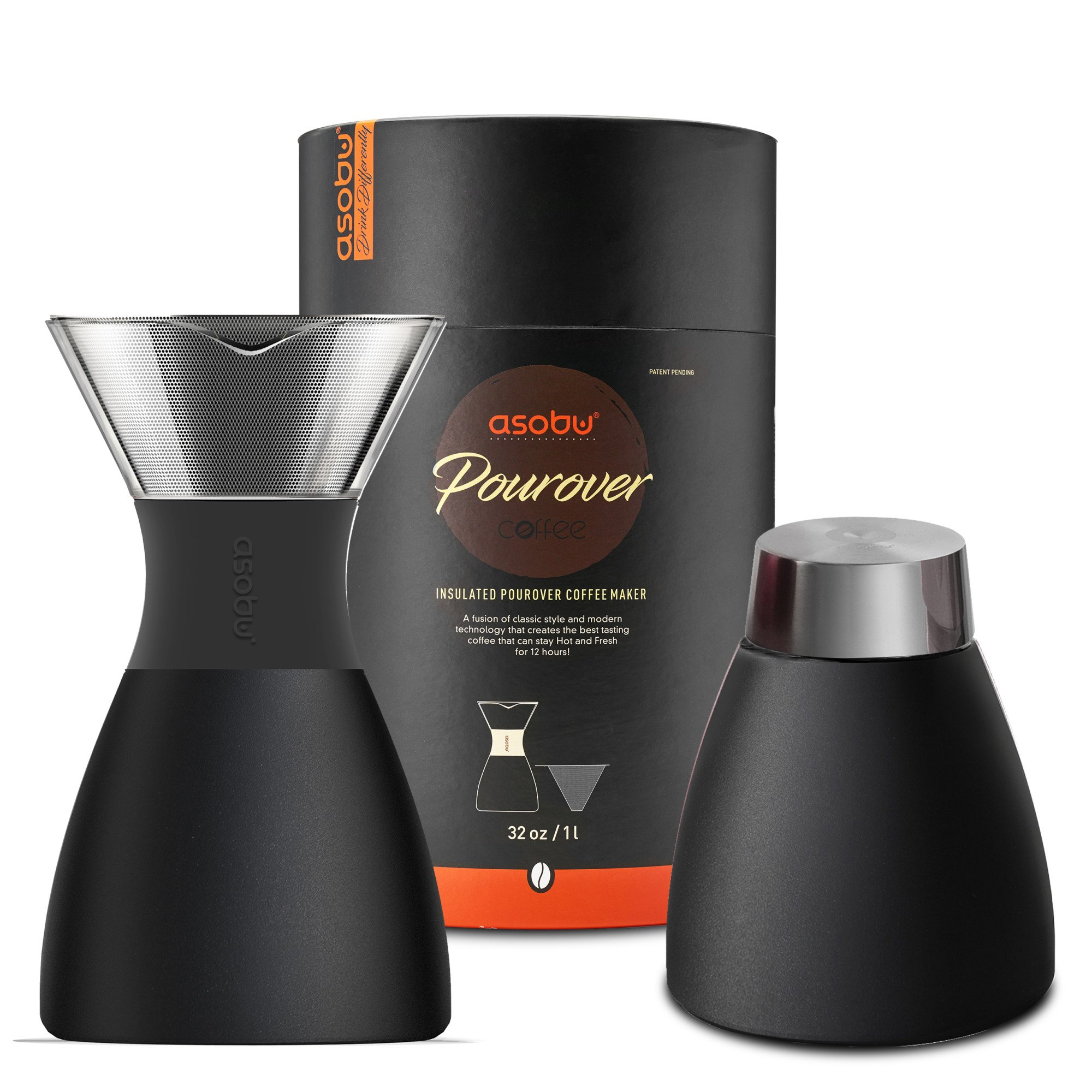 Asobu Black Insulated Pour Over Coffee Maker (32 oz.) Double-Wall Vacuum, Stainless-Steel Filter, Stays Hot Up to 12 Hours