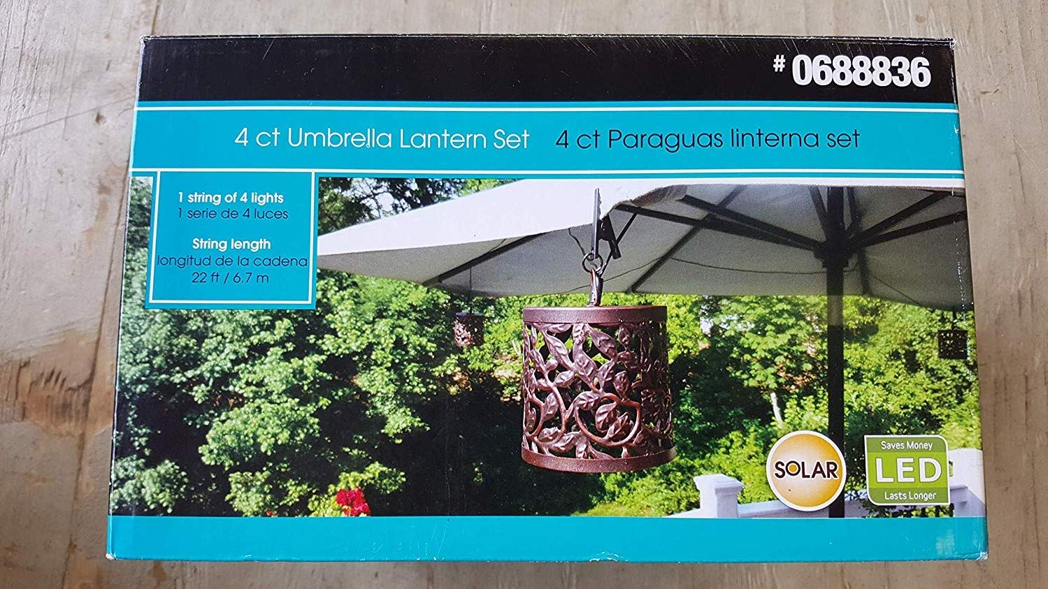 Solar LED 4 Count Umbrella Lantern Set