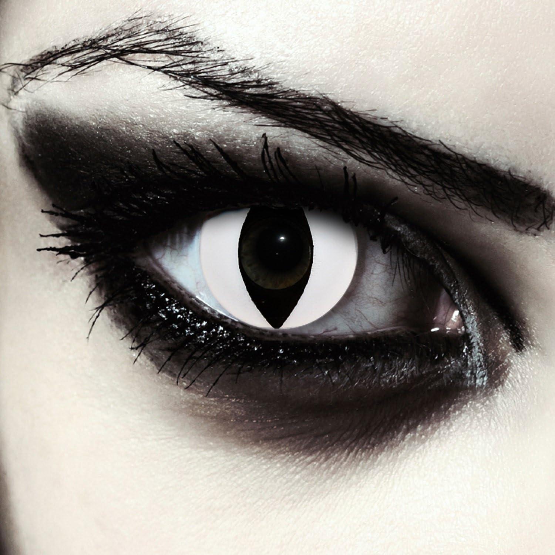 """Designlenses, Dos lentillas de color blanco para Halloween disfraz ojo de gato disfraz lentes sin dioprtías/corregir + gratis caso de lente """"White Cateye"""