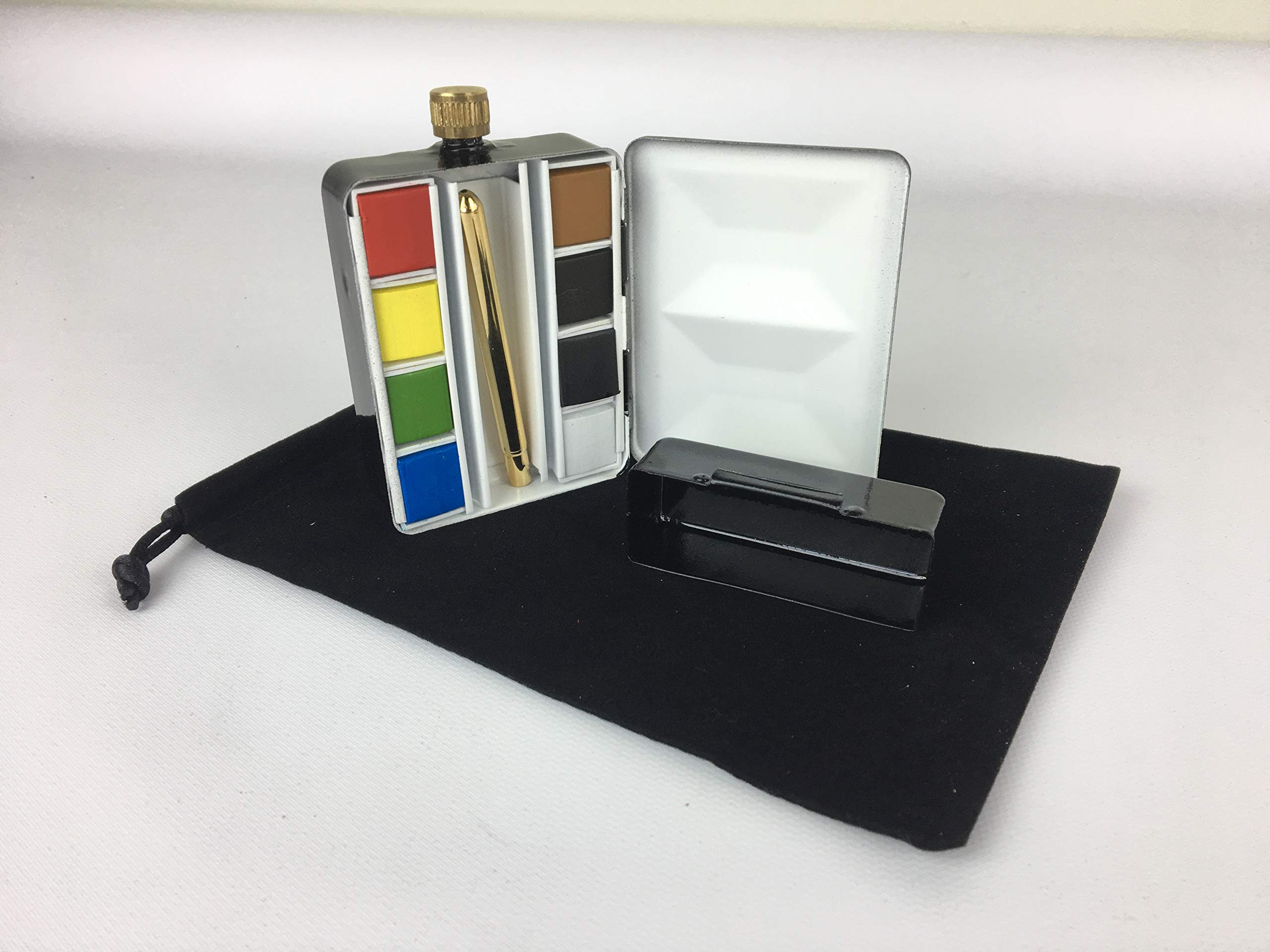 Whiskey Painters Empty Artist 8 Half Pan, Pocket Size,Travel Friendly Flask Palette & Water Reservoir Holder Hand Made in Italy