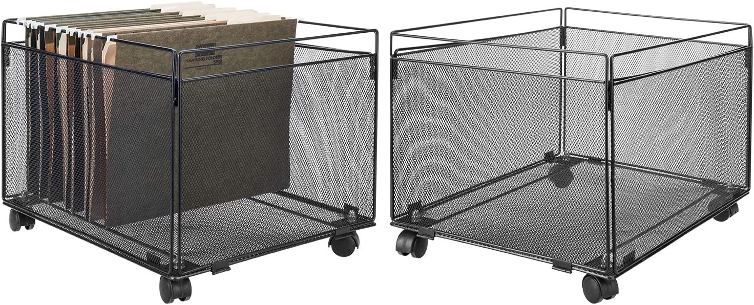 MyGift Rolling Metal Mesh Hanging File Folder Organizer, Set of 2