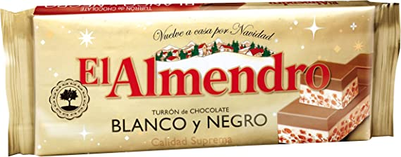 El Almendro Turrón Chocolate Blanco y Negro - 285 gr - [pack de 4 ...