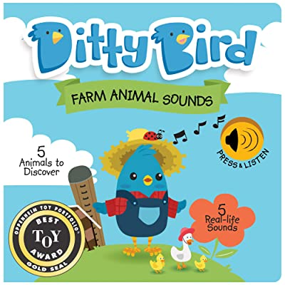 DITTY BIRD Educational Interactive Farm Animal Sounds and Musical Rhyme Book for Babies. Noisy Farm Toys for one Year Old. Farm Animal Learning Sounds Book for Toddlers. 1 Year Old boy Girl Gifts: Toys & Games