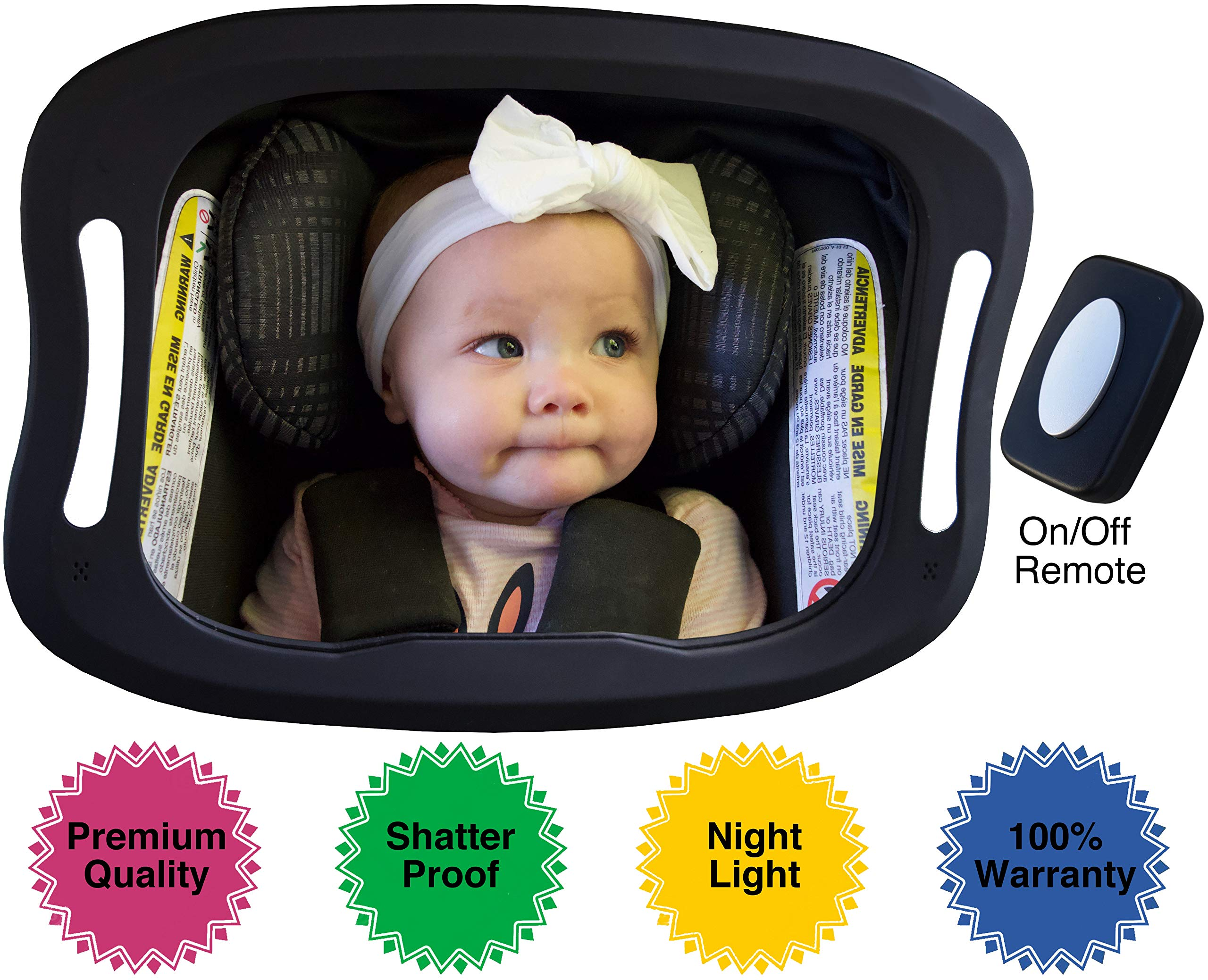 Baby Car Mirror with Light (for Driving at Night) & FOB Control | Backseat Baby Mirror by Baby Watch | Shatter-Proof, Fully Assembled by BABY WATCH
