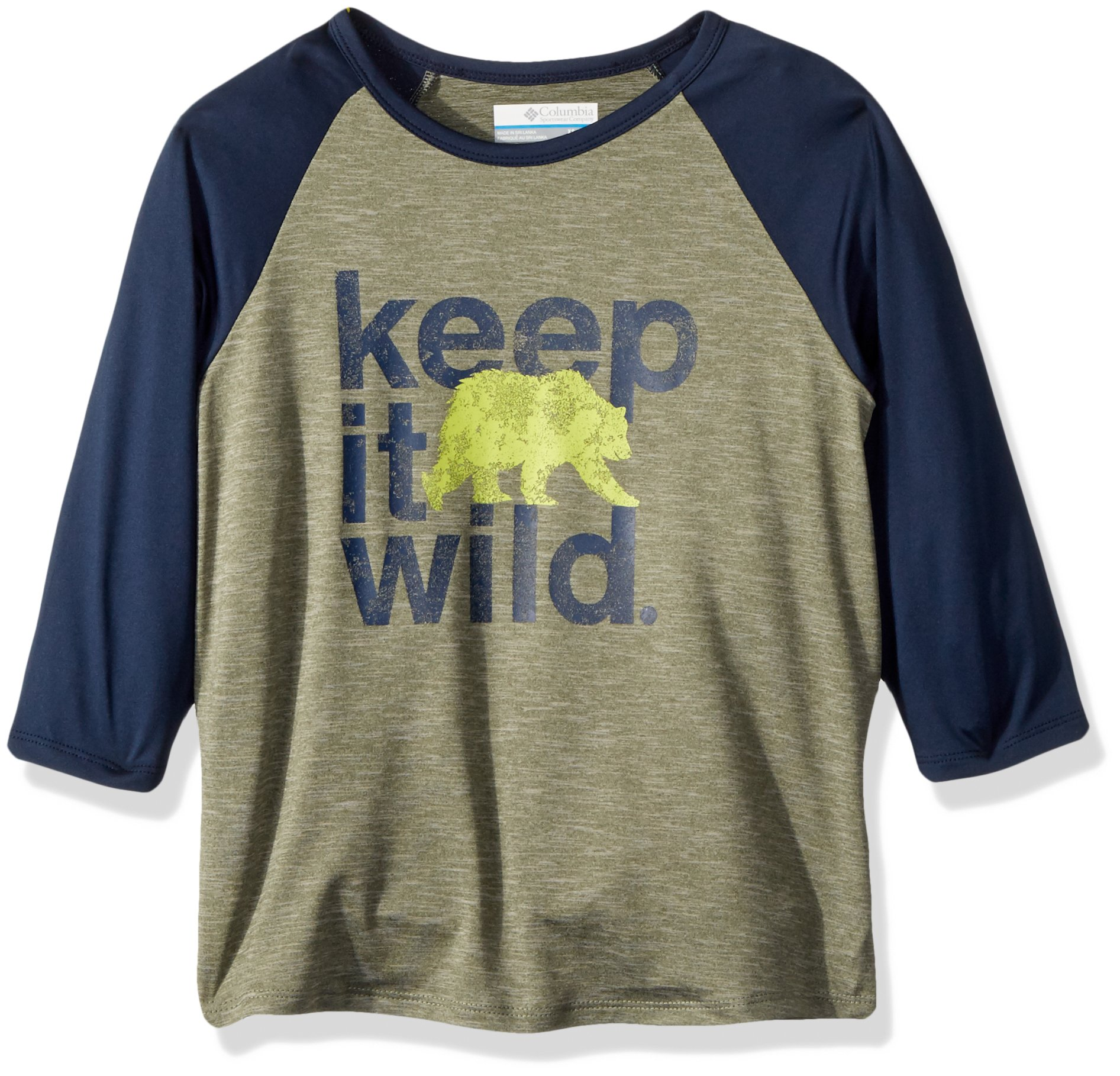 Columbia Boys Outdoor Elements3/4 Sleeve Shirt, Cypress Wild Graphic, Small by Columbia