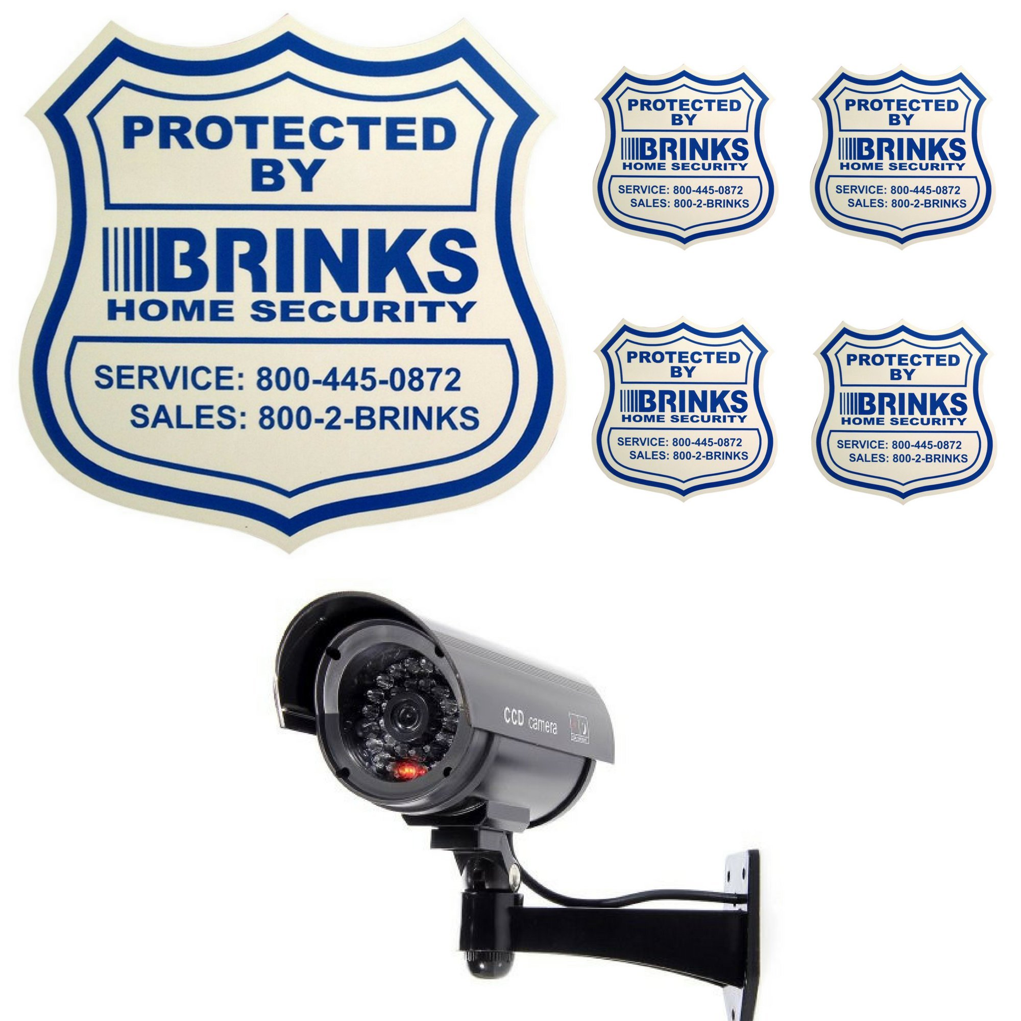 Home Security Yard Sign 4 Security Stickers Decals And Fake Security Dummy Camera CCTV Indoor Outdoor with one LED Light Bundle by Home Security