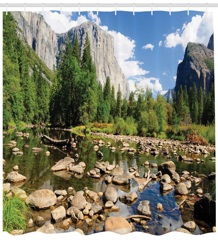 Yosemite River Forest ABAKUHAUS Naturaleza Cortina de Ba/ño Verde Azul 175 x 200 cm Material Resistente al Agua Durable Estampa Digital