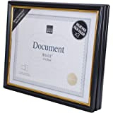 Kiera Grace Accent Document Frame with Plexi Sheet, 8.5 by 11 Inch, Black with Gold Trim, Pack of 3