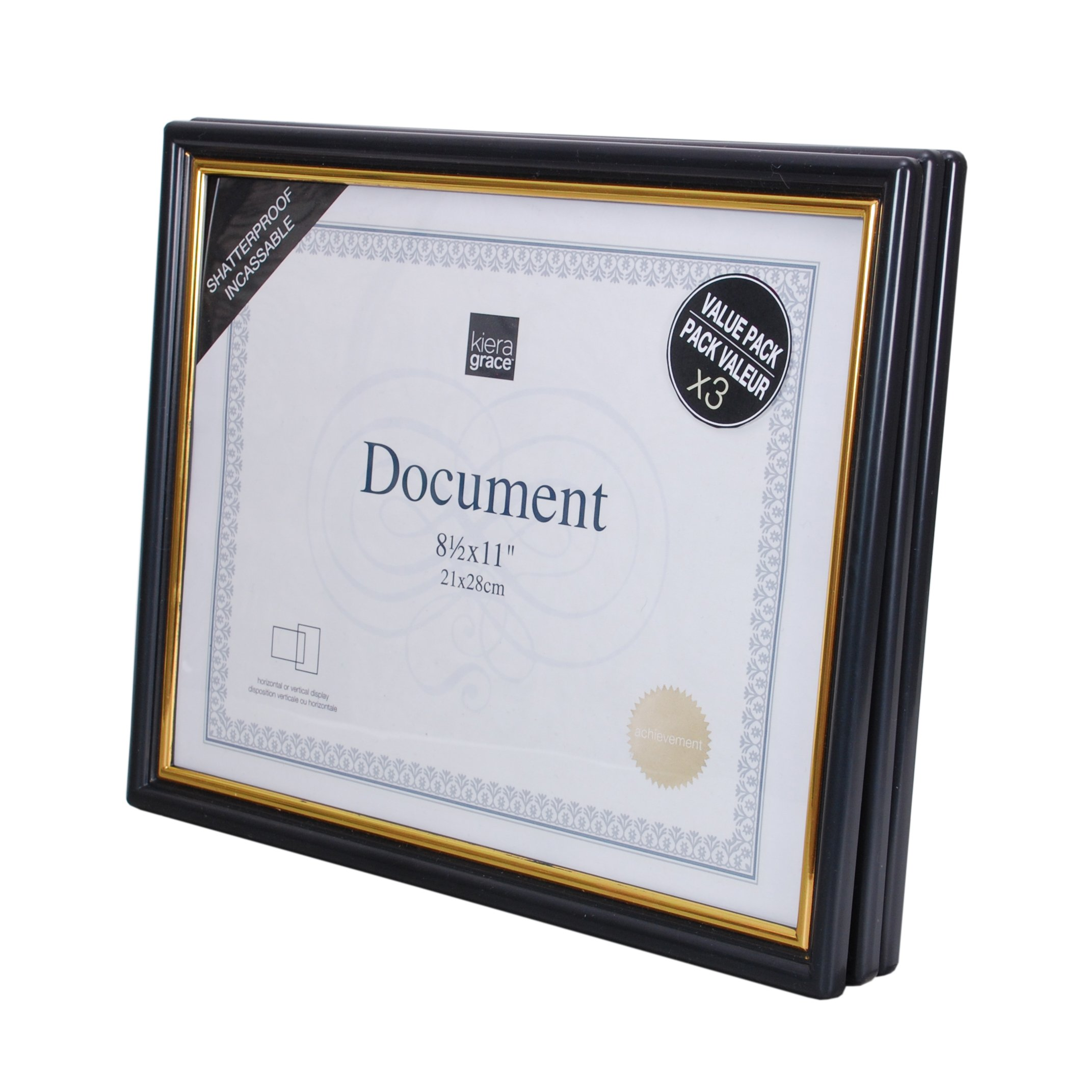 kieragrace 3 Pack Accent Document Frame with Plexi Sheet, 8.5 by 11'', Black with Gold Trim by kieragrace