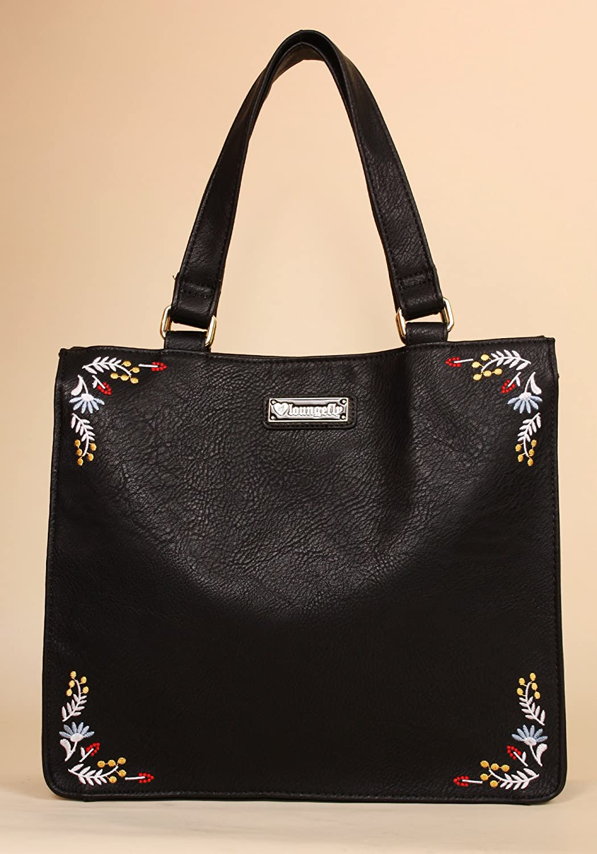 LGFLY Bolso negro Calavera y flores bordadas