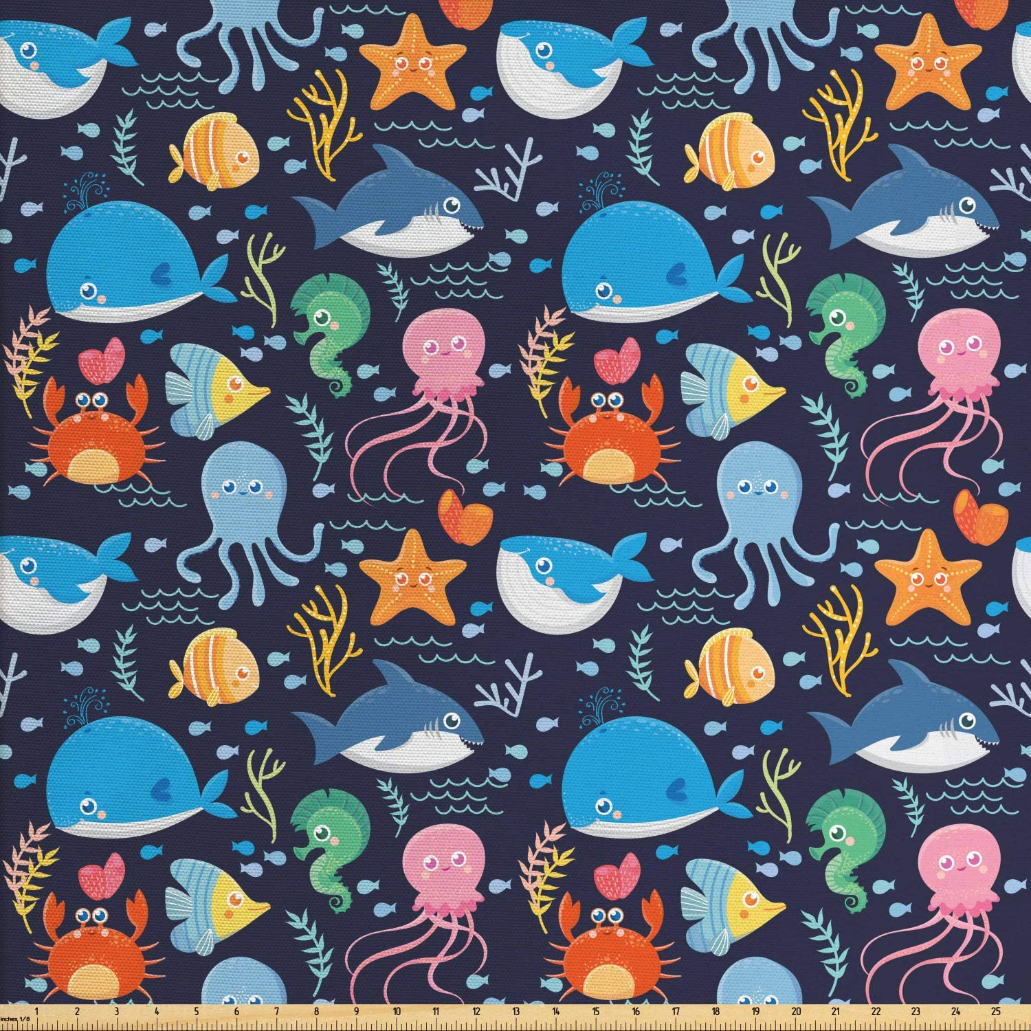 Lunarable Under The Sea Fabric by The Yard, Whale Shark and Crab on Dark Blue Shaded Background Funny Sea Animals Cartoon, Decorative Fabric for Upholstery and Home Accents, 1 Yard, Dark Blue