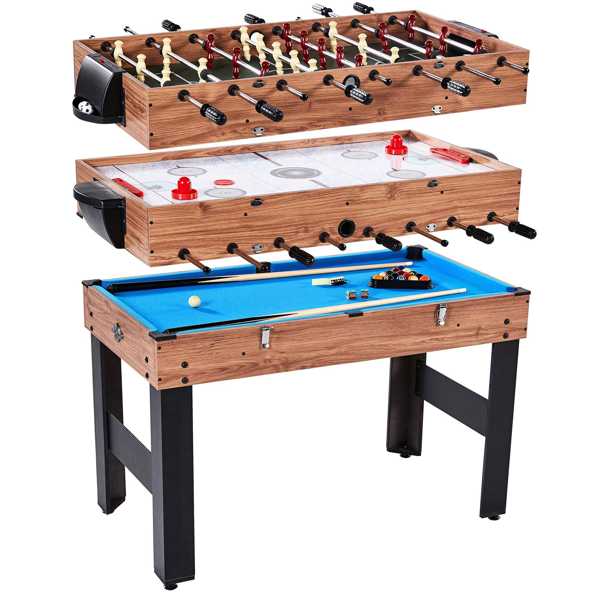 Lancaster 48'' 3 in 1 Pool Billiard Slide Hockey Foosball Combo Arcade Game Table by Lancaster Gaming Company