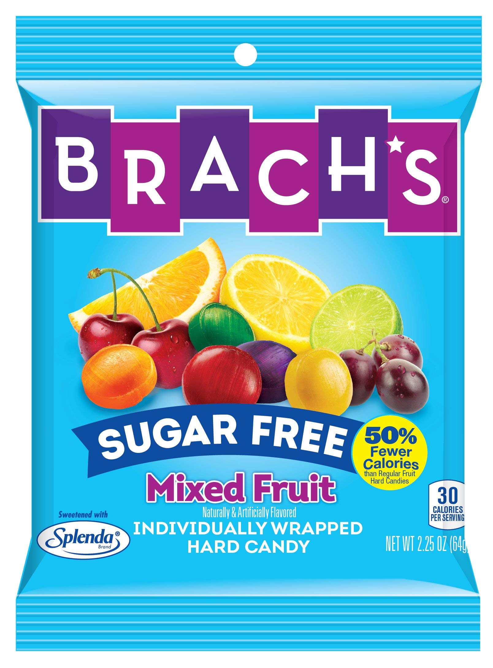 Brach's Sugar Free Mixed Fruit Hard Candy, 3.5 Ounce Peg Bag (Pack Of 12) Individually Wrapped by Brach's