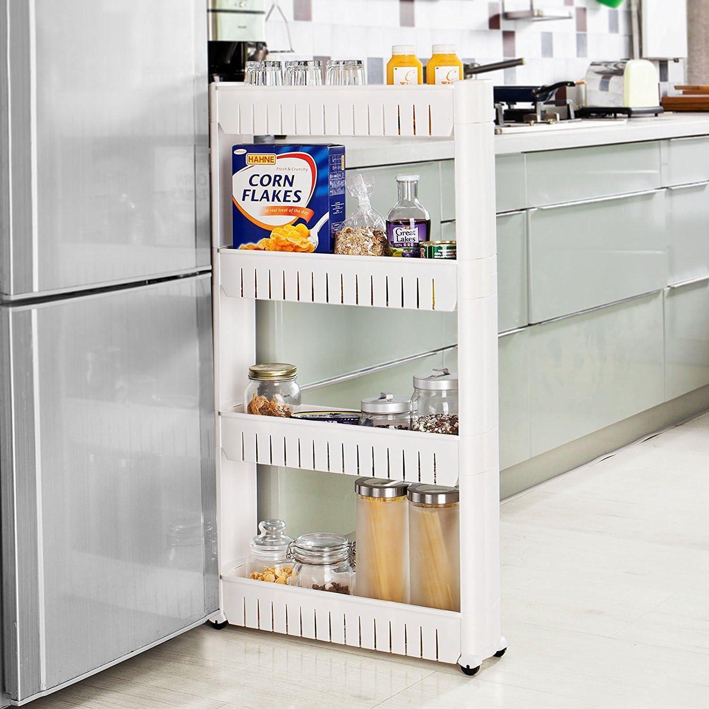 Organizador con niveles y ruedas delgado, que se desliza hacia fuera, para cocina, baño, plástico, 4 niveles