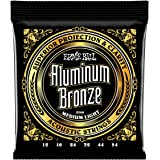 Ernie Ball P02566 Medium Light Aluminum Bronze Acoustic Guitar Strings, 12-54 Gauge, Medium Light
