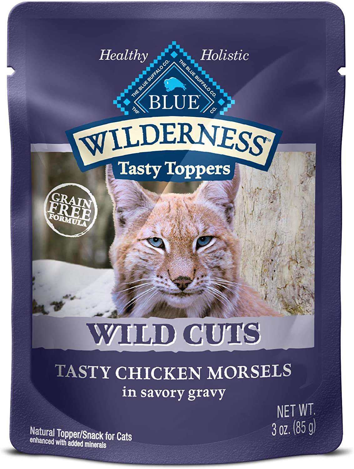 Blue Buffalo Wilderness High Protein Grain Free, Natural Wild Cuts Adult Wet Cat Food Pouch(Pack of 24)