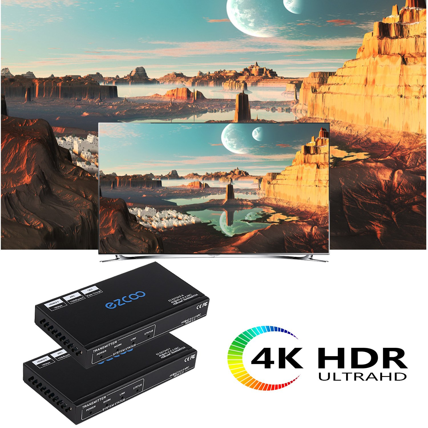 EZCOO 4K HDMI 2.0 Extender ARC HDR Scaler,HDBaseT Extender,Uncompressed 4K 60Hz 4:4:4 18Gbps HDCP 2.2 SPDIF, 4K/ 1080P Scaler Out, 230ft 1080P, 130ft 4K via Cat5e/6a, Bi-directional PoE+IR, CEC, DTS:X by EZCOO (Image #2)